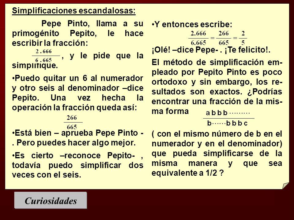 Simplificaciones escandalosas: Pepe Pinto, llama a su primogénito Pepito, le hace escribir la fracción:, y le pide que la simplifique. Puedo quitar un