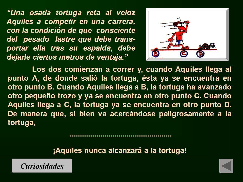 Una osada tortuga reta al veloz Aquiles a competir en una carrera, con la condición de que consciente del pesado lastre que debe trans- portar ella tr