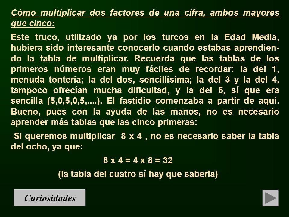 1.- El problema sería que se quieran multiplicar dos factores mayores que cinco, por ejemplo 7 x 9.