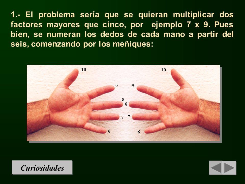 1.- El problema sería que se quieran multiplicar dos factores mayores que cinco, por ejemplo 7 x 9. Pues bien, se numeran los dedos de cada mano a par