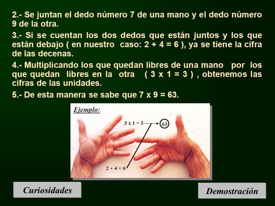 Curiosidades 2.- Se juntan el dedo número 7 de una mano y el dedo número 9 de la otra. 3.- Si se cuentan los dos dedos que están juntos y los que está