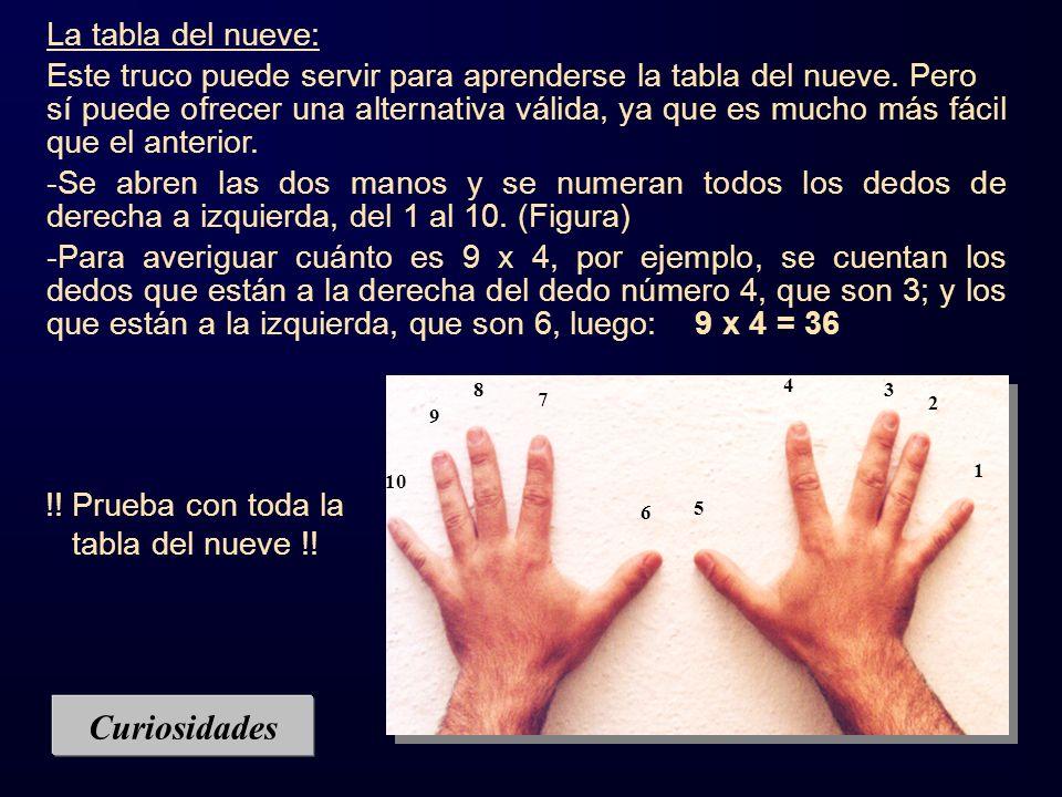 Curiosidades La tabla del nueve: Este truco puede servir para aprenderse la tabla del nueve. Pero sí puede ofrecer una alternativa válida, ya que es m