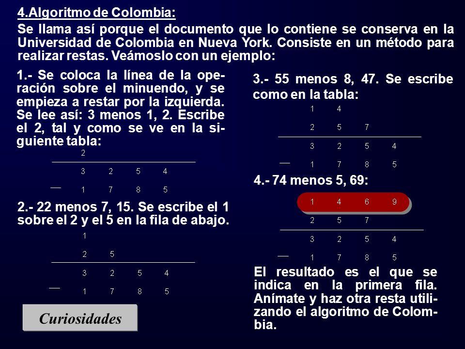 Curiosidades 4.Algoritmo de Colombia: Se llama así porque el documento que lo contiene se conserva en la Universidad de Colombia en Nueva York. Consis