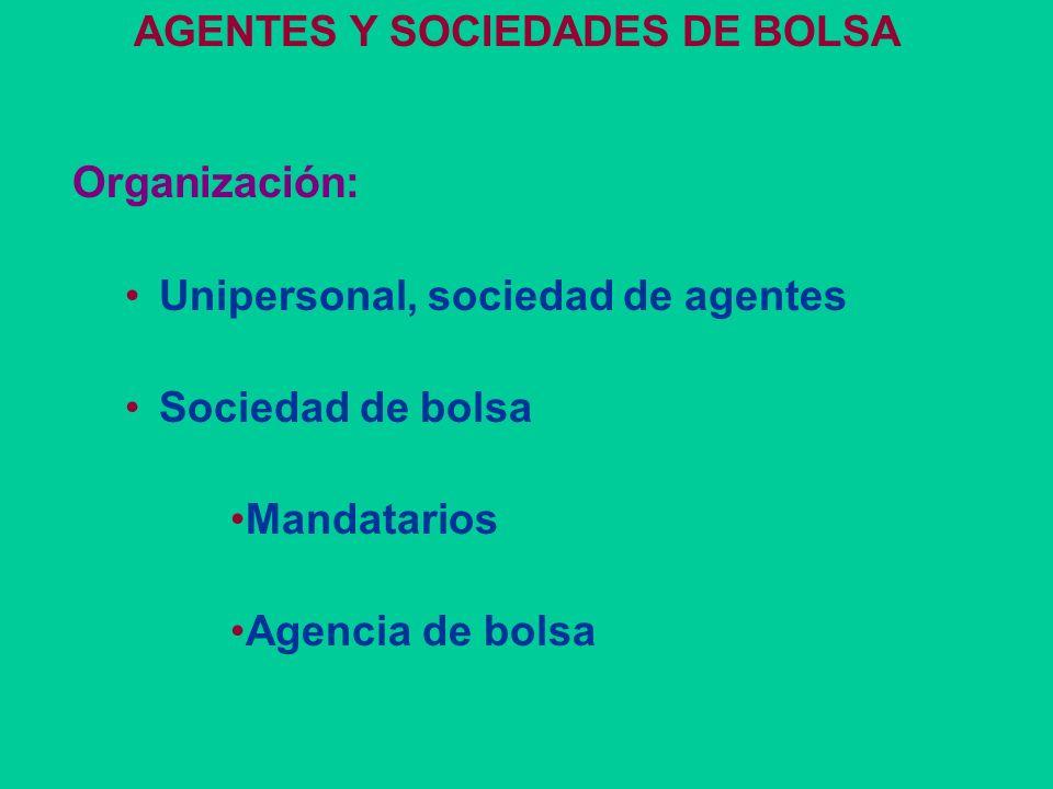 MERCADO DE VALORES Forma organizativa Sociedad anónima con acciones nominativas o escriturales Funciones Llevar la matrícula de los agentes y sociedad