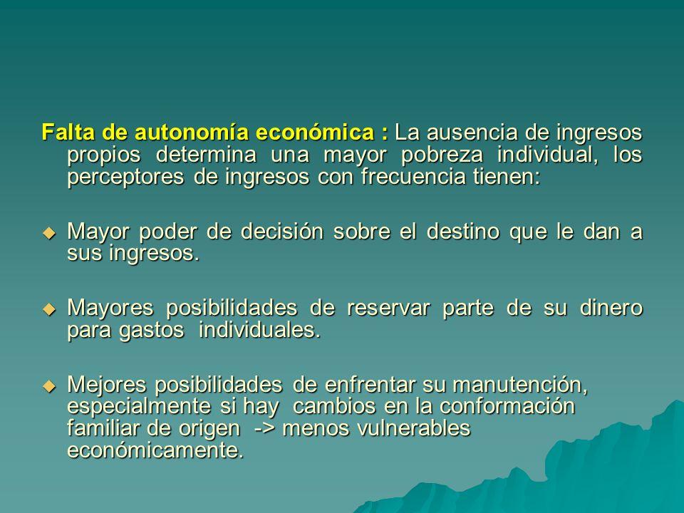 Falta de autonomía económica : La ausencia de ingresos propios determina una mayor pobreza individual, los perceptores de ingresos con frecuencia tien