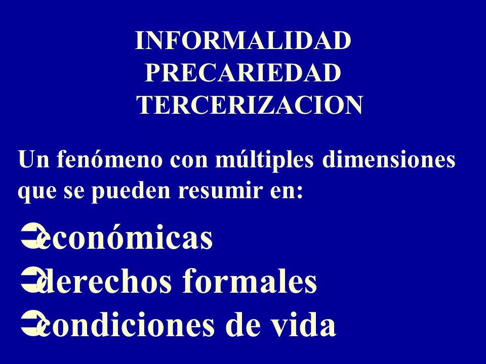 INFORMALIDAD PRECARIEDAD TERCERIZACION Un fenómeno con múltiples dimensiones que se pueden resumir en: Üeconómicas Üderechos formales Ücondiciones de vida