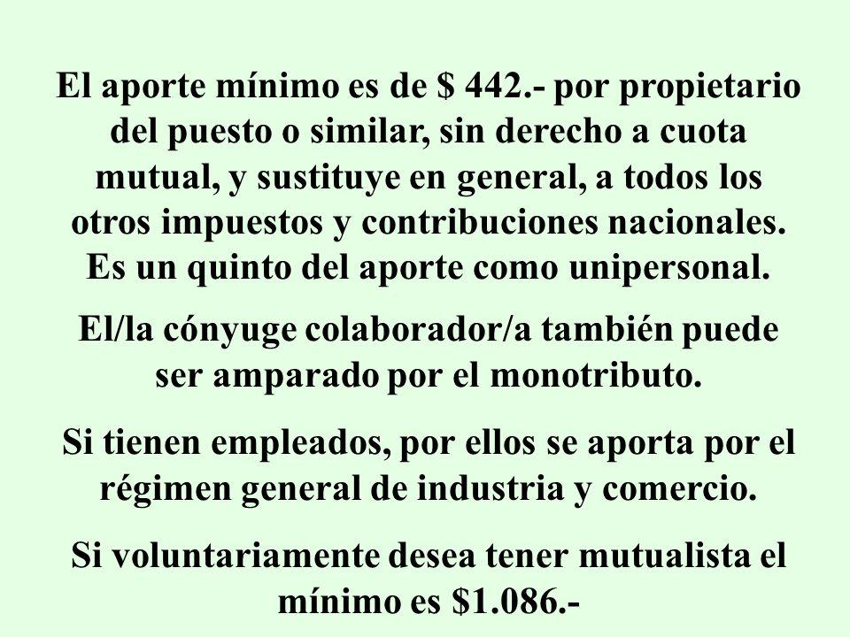 El aporte mínimo es de $ 442.- por propietario del puesto o similar, sin derecho a cuota mutual, y sustituye en general, a todos los otros impuestos y contribuciones nacionales.