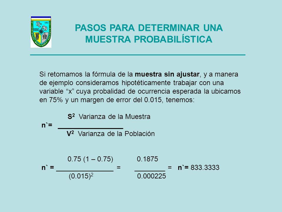 PASOS PARA DETERMINAR UNA MUESTRA PROBABILÍSTICA Una vez que hemos determinado la muestra sin ajustar, estamos en condiciones de dar nuestro Segundo Paso: CALCULAR LA MUESTRA AJUSTADA La Muestra Ajustada se simboliza con la letra n y su fórmula es como sigue: n` n = ___________ donde N = Número de la Población 1 + n` / N