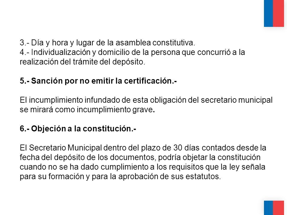 CALIDAD CALIDEZ COLABORACIÓN 3.- Día y hora y lugar de la asamblea constitutiva. 4.- Individualización y domicilio de la persona que concurrió a la re