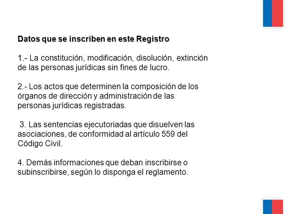 CALIDAD CALIDEZ COLABORACIÓN Datos que se inscriben en este Registro 1.- 1.- La constitución, modificación, disolución, extinción de las personas jurí