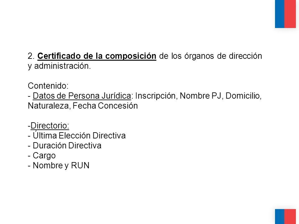 CALIDAD CALIDEZ COLABORACIÓN 2. Certificado de la composición de los órganos de dirección y administración. Contenido: - Datos de Persona Jurídica: In