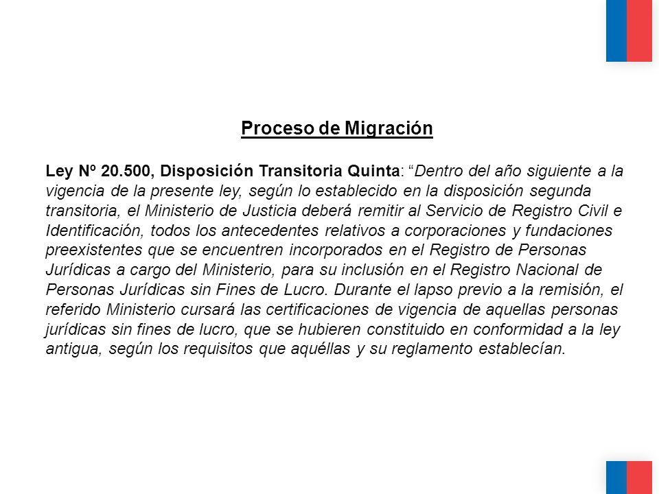 Proceso de Migración Ley Nº 20.500, Disposición Transitoria Quinta: Dentro del año siguiente a la vigencia de la presente ley, según lo establecido en