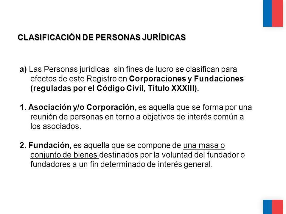 CLASIFICACIÓN DE PERSONAS JURÍDICAS a) Las Personas jurídicas sin fines de lucro se clasifican para efectos de este Registro en Corporaciones y Fundac