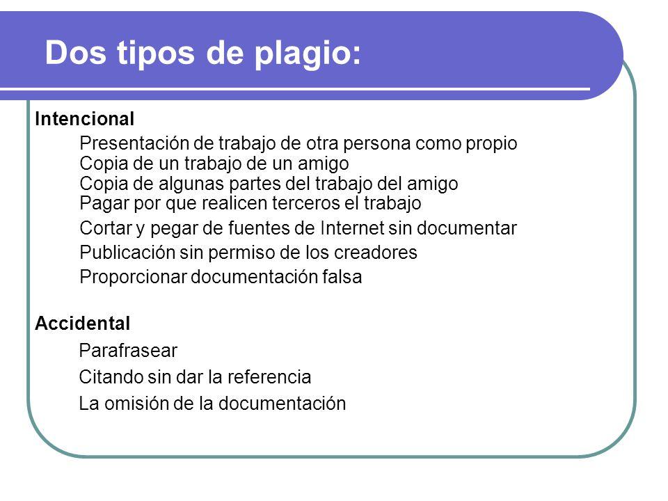 Dos tipos de plagio: Intencional Presentación de trabajo de otra persona como propio Copia de un trabajo de un amigo Copia de algunas partes del traba