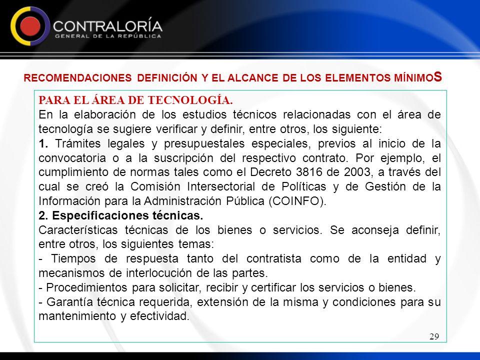 29 PARA EL ÁREA DE TECNOLOGÍA.