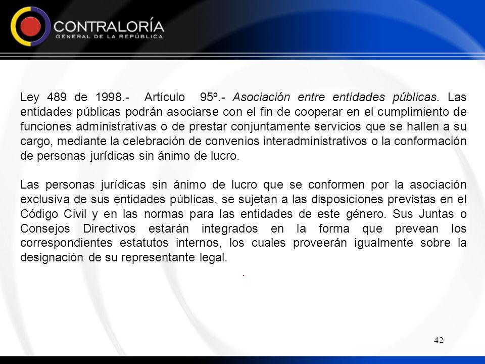 Ley 489 de 1998.- Artículo 95º.- Asociación entre entidades públicas.