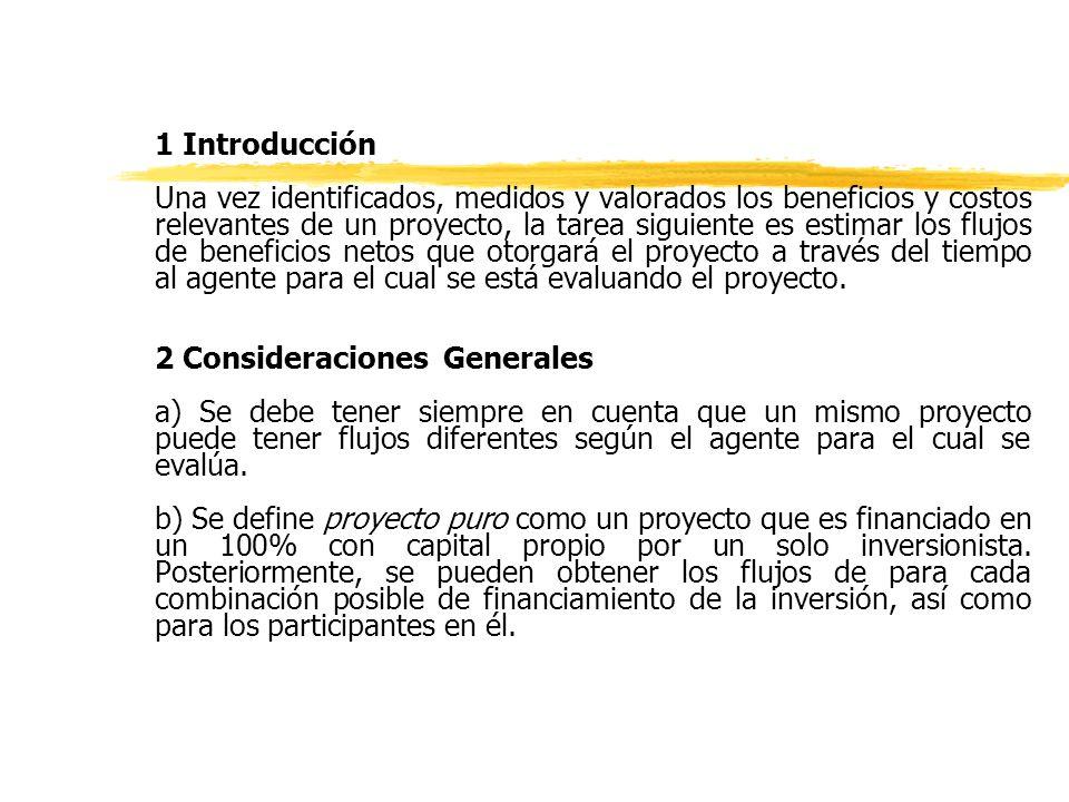 zVersión simplificada del Flujo de Caja típico de un Proyecto Privado: z Ventas v z- Costos c z - Depreciación d z- Intereses r z =Utilidad antes de impuestos z- Impuestos T z =Utilidad después de impuestos z+ Depreciación d z- Amortización a z+ Préstamos p z- Inversión I z+ Valor residual vr z =FLUJO DE CAJA F