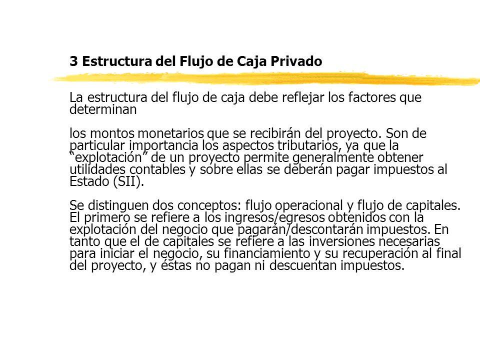 3 Estructura del Flujo de Caja Privado La estructura del flujo de caja debe reflejar los factores que determinan los montos monetarios que se recibirán del proyecto.