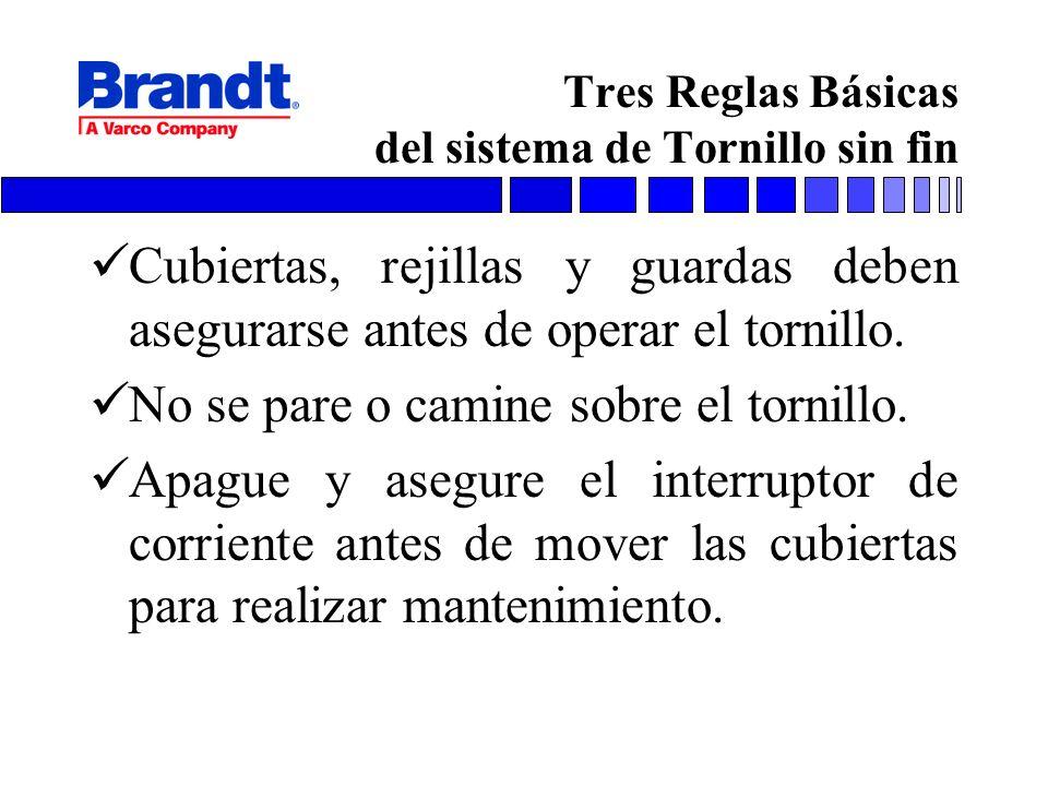 Tres Reglas Básicas del sistema de Tornillo sin fin Cubiertas, rejillas y guardas deben asegurarse antes de operar el tornillo. No se pare o camine so