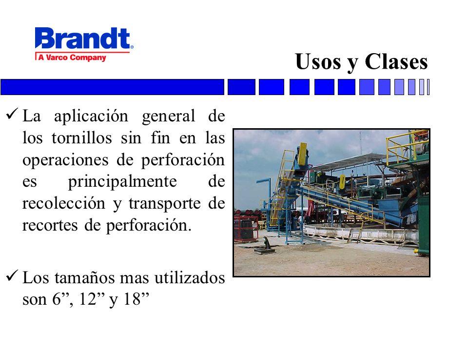Usos y Clases La aplicación general de los tornillos sin fin en las operaciones de perforación es principalmente de recolección y transporte de recort