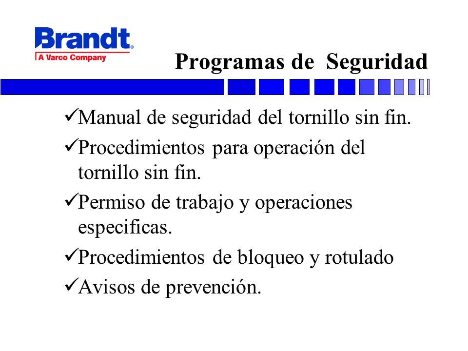 Programas de Seguridad Manual de seguridad del tornillo sin fin. Procedimientos para operación del tornillo sin fin. Permiso de trabajo y operaciones