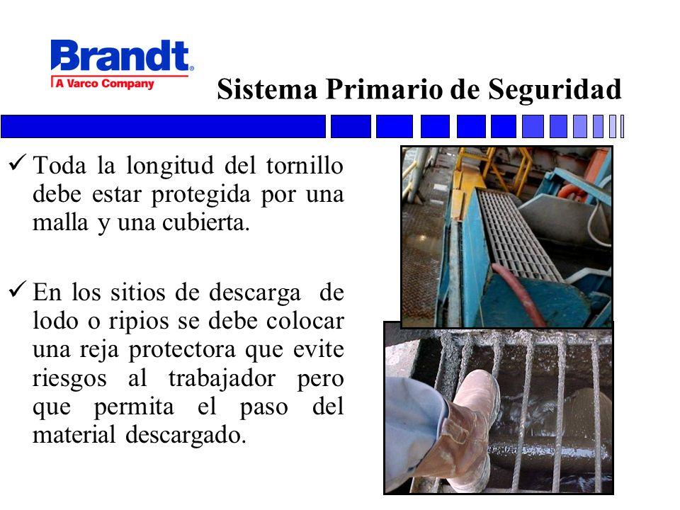 Sistema Primario de Seguridad Toda la longitud del tornillo debe estar protegida por una malla y una cubierta. En los sitios de descarga de lodo o rip