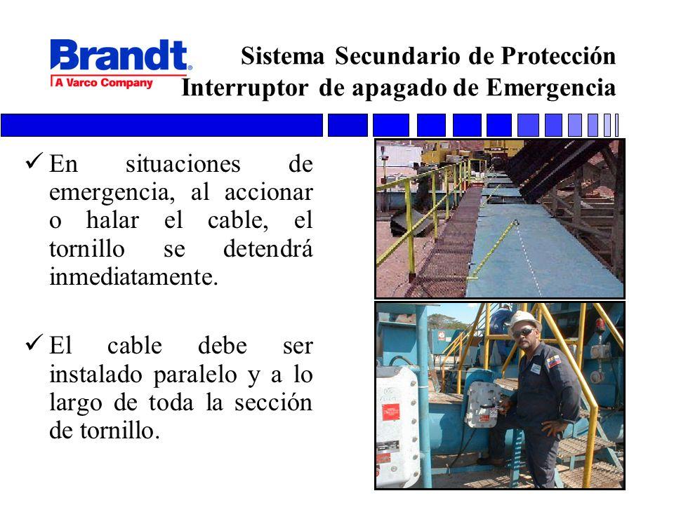 Sistema Secundario de Protección Interruptor de apagado de Emergencia En situaciones de emergencia, al accionar o halar el cable, el tornillo se deten