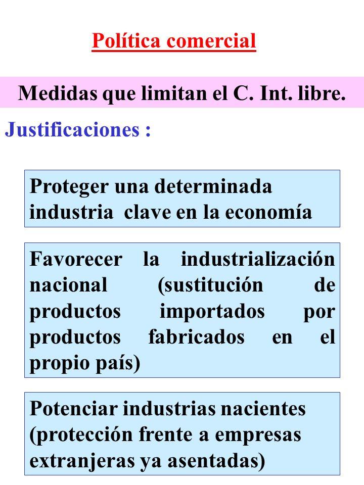 Política comercial Proteger una determinada industria clave en la economía Favorecer la industrialización nacional (sustitución de productos importado