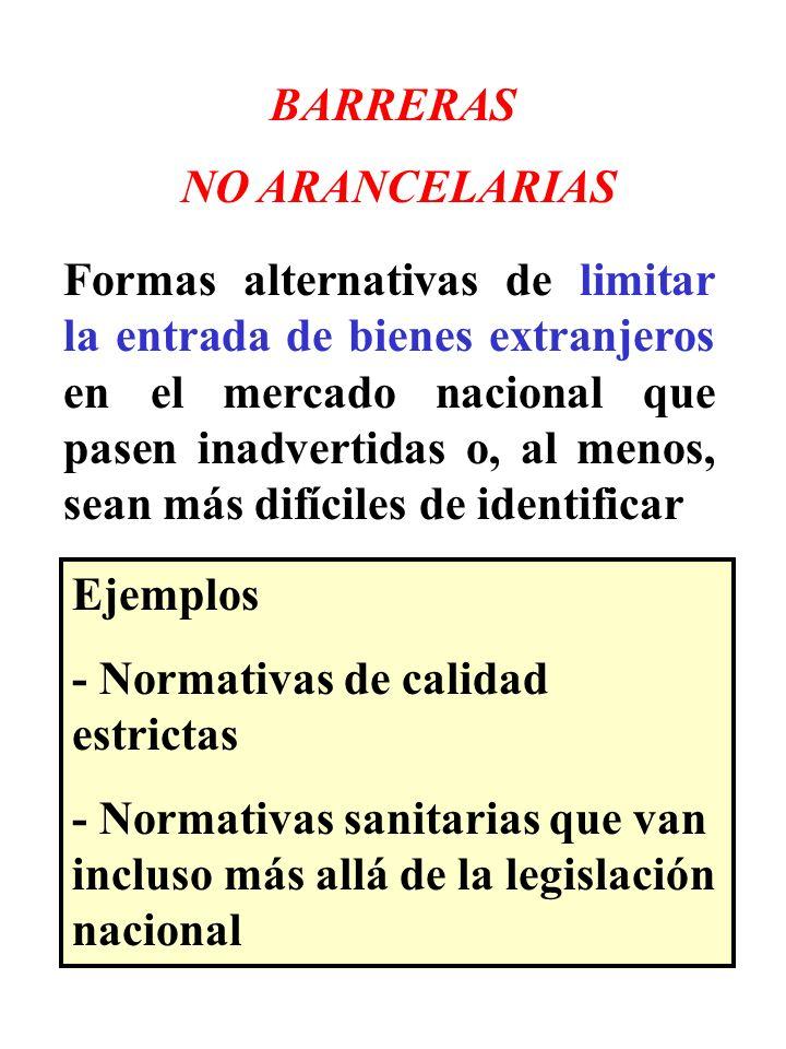 BARRERAS NO ARANCELARIAS Formas alternativas de limitar la entrada de bienes extranjeros en el mercado nacional que pasen inadvertidas o, al menos, se