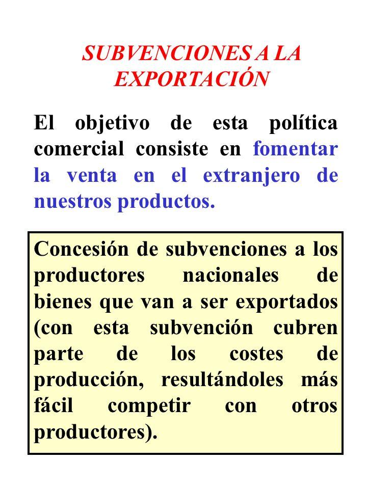 SUBVENCIONES A LA EXPORTACIÓN El objetivo de esta política comercial consiste en fomentar la venta en el extranjero de nuestros productos. Concesión d