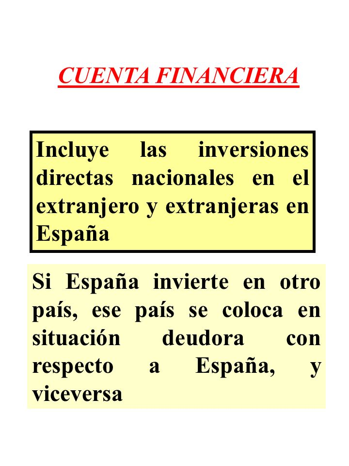 CUENTA FINANCIERA Incluye las inversiones directas nacionales en el extranjero y extranjeras en España Si España invierte en otro país, ese país se co