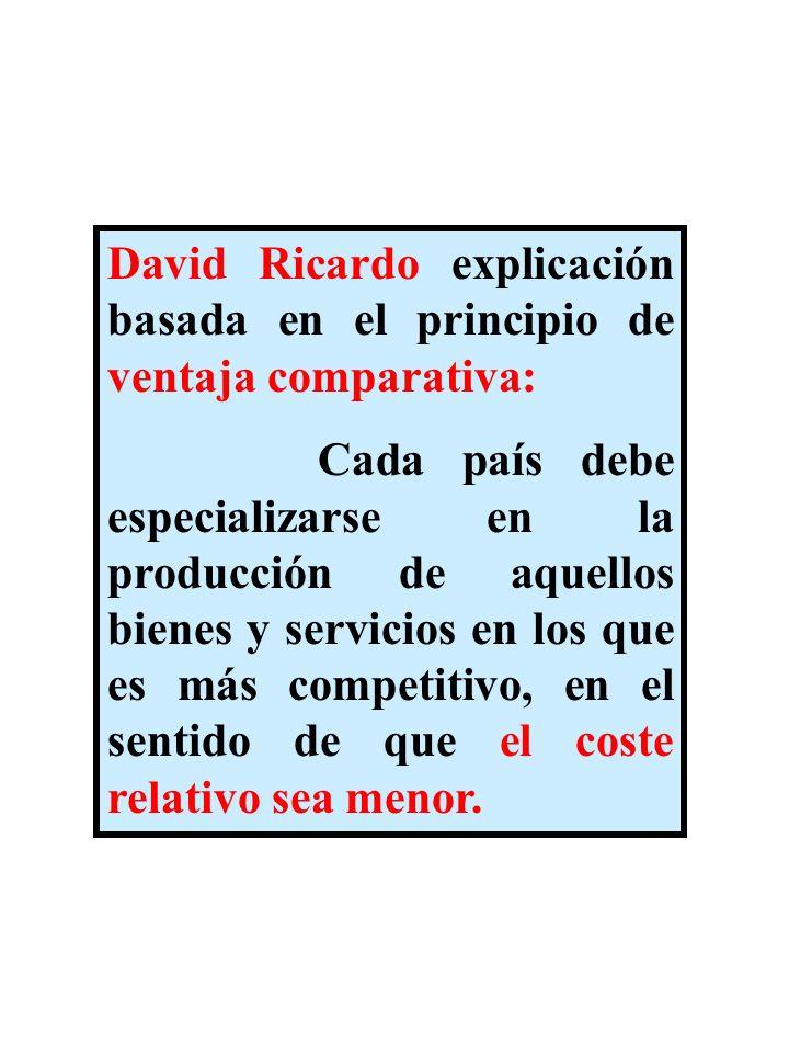 David Ricardo explicación basada en el principio de ventaja comparativa: Cada país debe especializarse en la producción de aquellos bienes y servicios