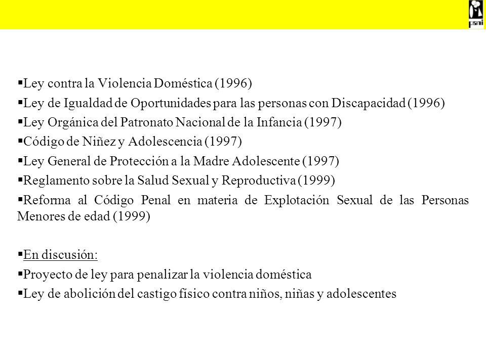 Ley contra la Violencia Doméstica (1996) Ley de Igualdad de Oportunidades para las personas con Discapacidad (1996) Ley Orgánica del Patronato Naciona