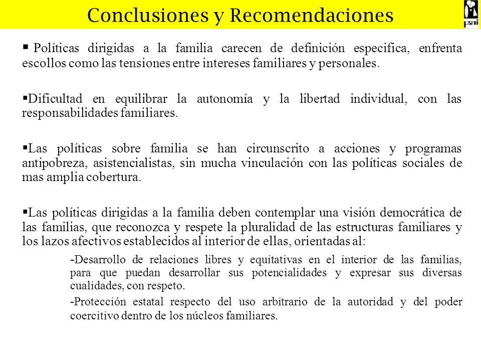 Conclusiones y Recomendaciones Políticas dirigidas a la familia carecen de definición especifica, enfrenta escollos como las tensiones entre intereses