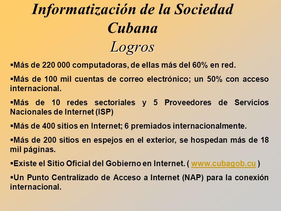 Logros Informatización de la Sociedad Cubana Logros Más de 220 000 computadoras, de ellas más del 60% en red.