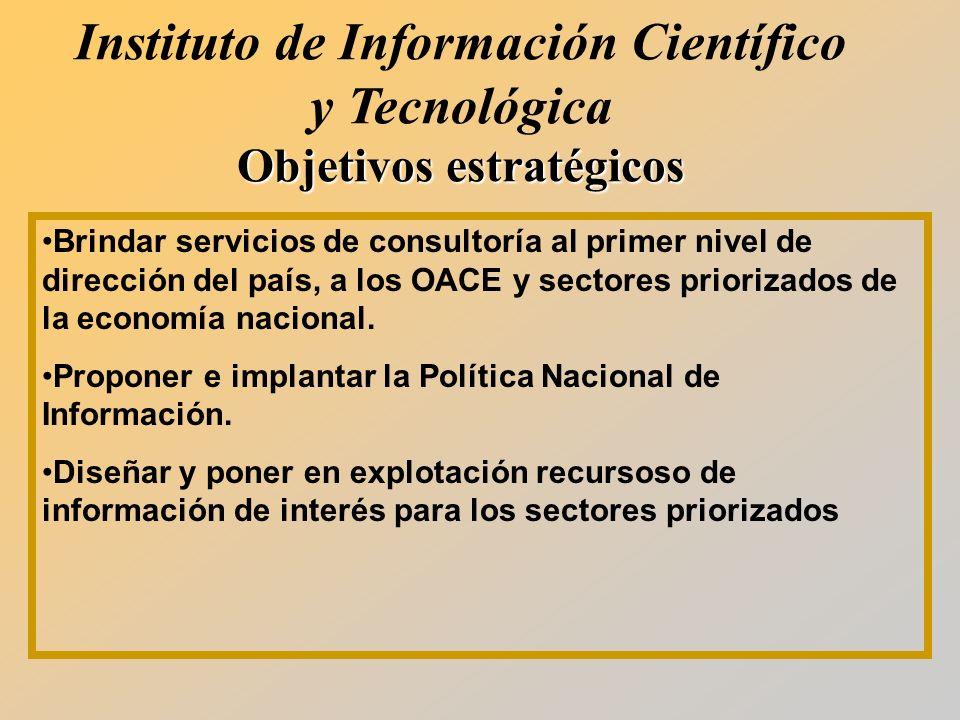 Brindar servicios de consultoría al primer nivel de dirección del país, a los OACE y sectores priorizados de la economía nacional.