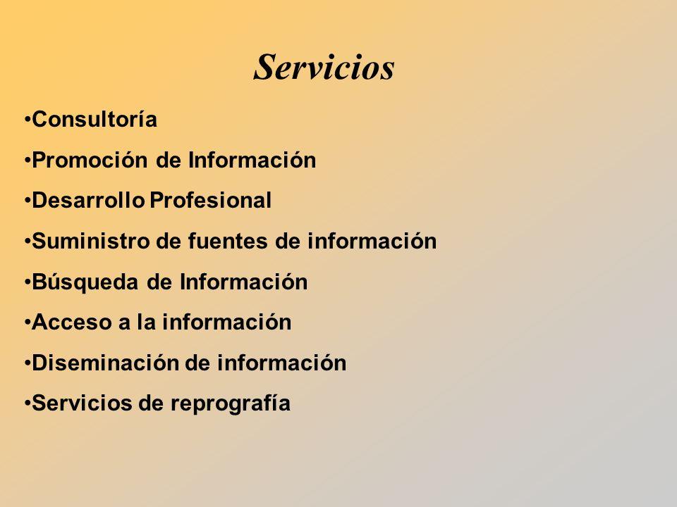 Consultoría Promoción de Información Desarrollo Profesional Suministro de fuentes de información Búsqueda de Información Acceso a la información Diseminación de información Servicios de reprografía Servicios