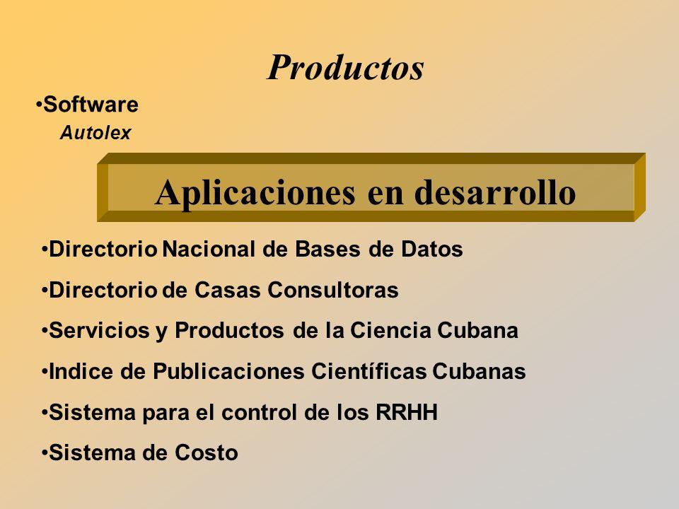 Software Autolex Aplicaciones en desarrollo Directorio Nacional de Bases de Datos Directorio de Casas Consultoras Servicios y Productos de la Ciencia Cubana Indice de Publicaciones Científicas Cubanas Sistema para el control de los RRHH Sistema de Costo Productos