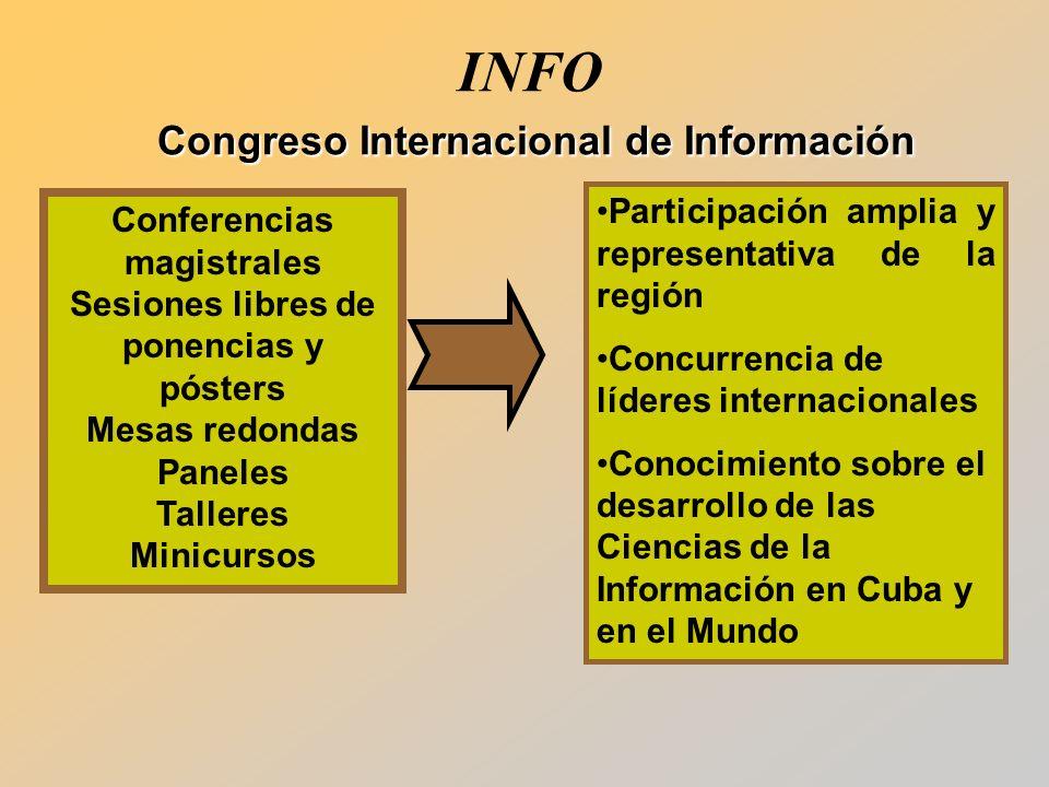 Conferencias magistrales Sesiones libres de ponencias y pósters Mesas redondas Paneles Talleres Minicursos Participación amplia y representativa de la región Concurrencia de líderes internacionales Conocimiento sobre el desarrollo de las Ciencias de la Información en Cuba y en el Mundo Congreso Internacional de Información INFO Congreso Internacional de Información