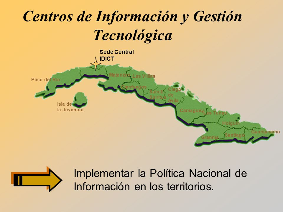 Implementar la Política Nacional de Información en los territorios.