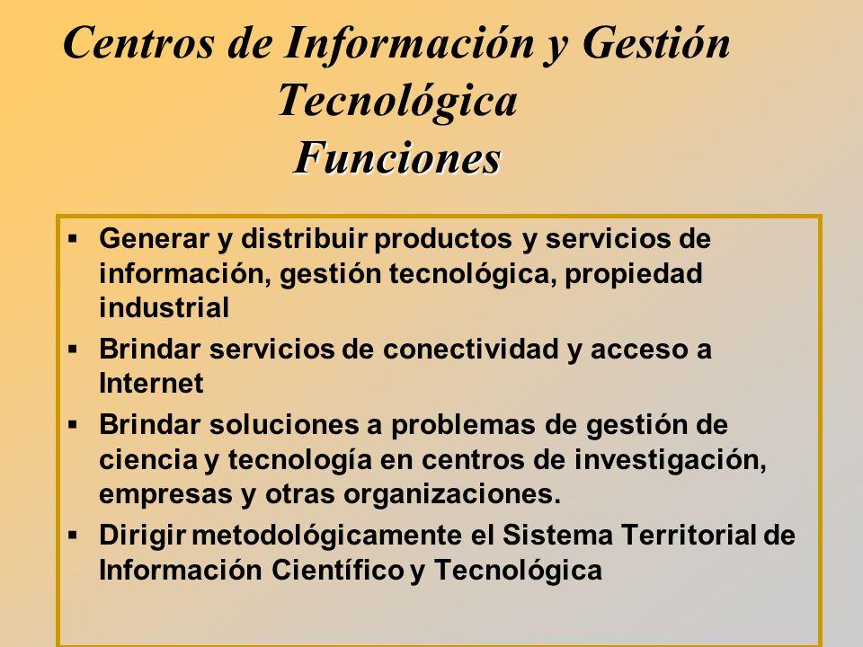 Generar y distribuir productos y servicios de información, gestión tecnológica, propiedad industrial Brindar servicios de conectividad y acceso a Internet Brindar soluciones a problemas de gestión de ciencia y tecnología en centros de investigación, empresas y otras organizaciones.