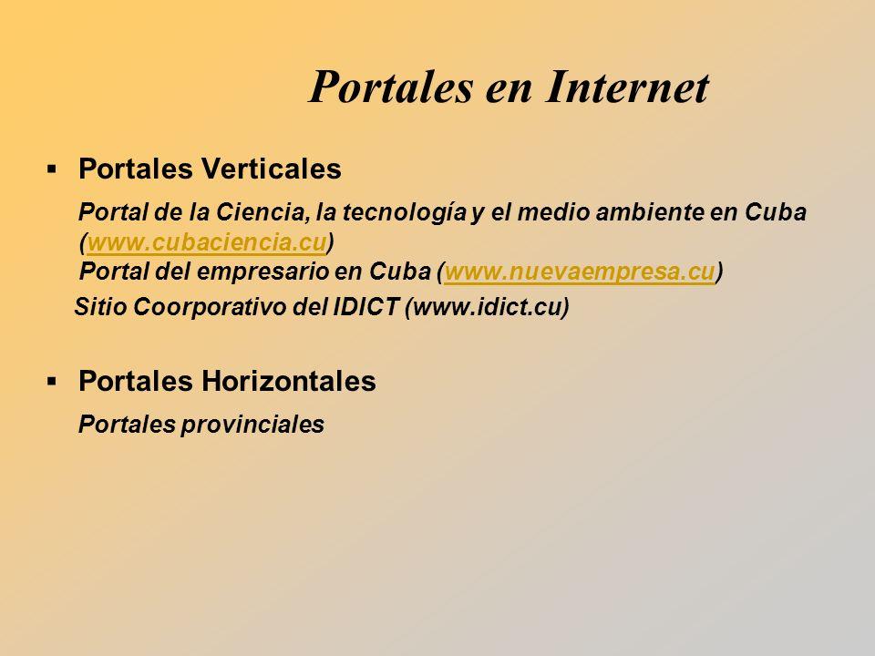 Portales en Internet Portales Verticales Portal de la Ciencia, la tecnología y el medio ambiente en Cuba (www.cubaciencia.cu) Portal del empresario en Cuba (www.nuevaempresa.cu)www.cubaciencia.cuwww.nuevaempresa.cu Sitio Coorporativo del IDICT (www.idict.cu) Portales Horizontales Portales provinciales