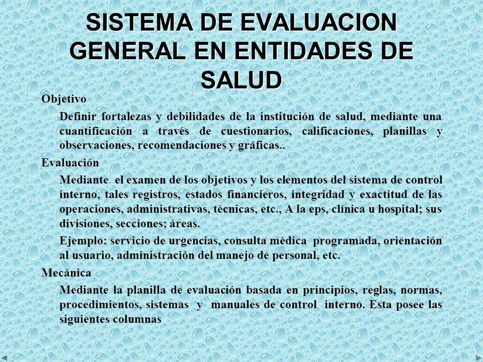 SISTEMA DE EVALUACION GENERAL EN ENTIDADES DE SALUD Objetivo Definir fortalezas y debilidades de la institución de salud, mediante una cuantificación a través de cuestionarios, calificaciones, planillas y observaciones, recomendaciones y gráficas..