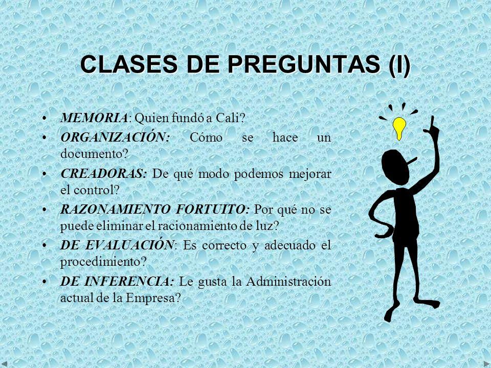 CLASES DE PREGUNTAS (I) MEMORIA: Quien fundó a Cali.