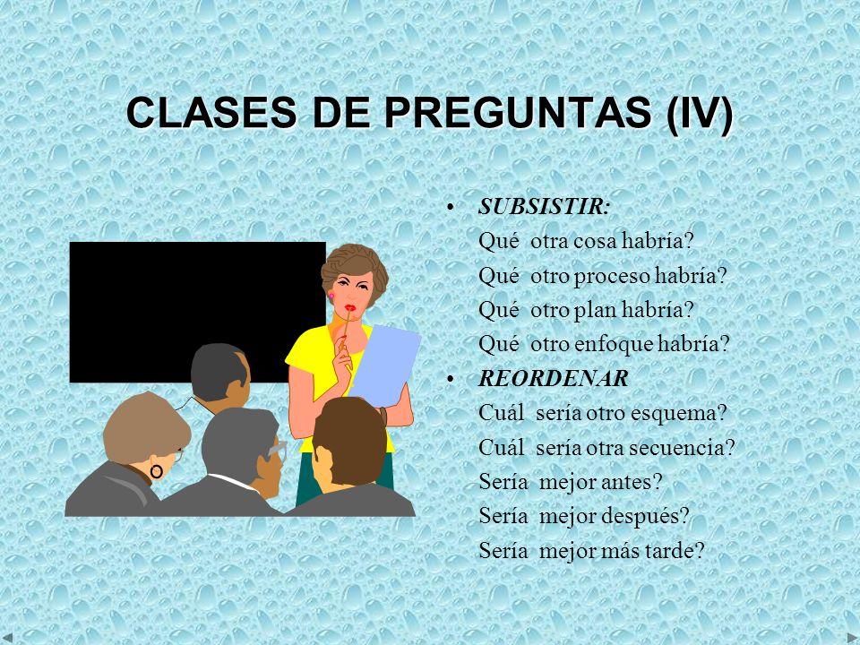 CLASES DE PREGUNTAS (IV) SUBSISTIR: Qué otra cosa habría.