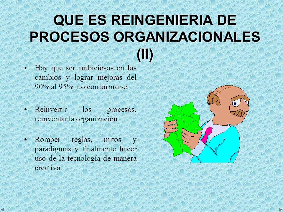 QUE ES REINGENIERIA DE PROCESOS ORGANIZACIONALES (II) Hay que ser ambiciosos en los cambios y lograr mejoras del 90% al 95%, no conformarse.