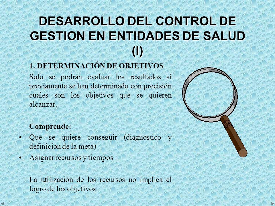 DESARROLLO DEL CONTROL DE GESTION EN ENTIDADES DE SALUD (I) 1.
