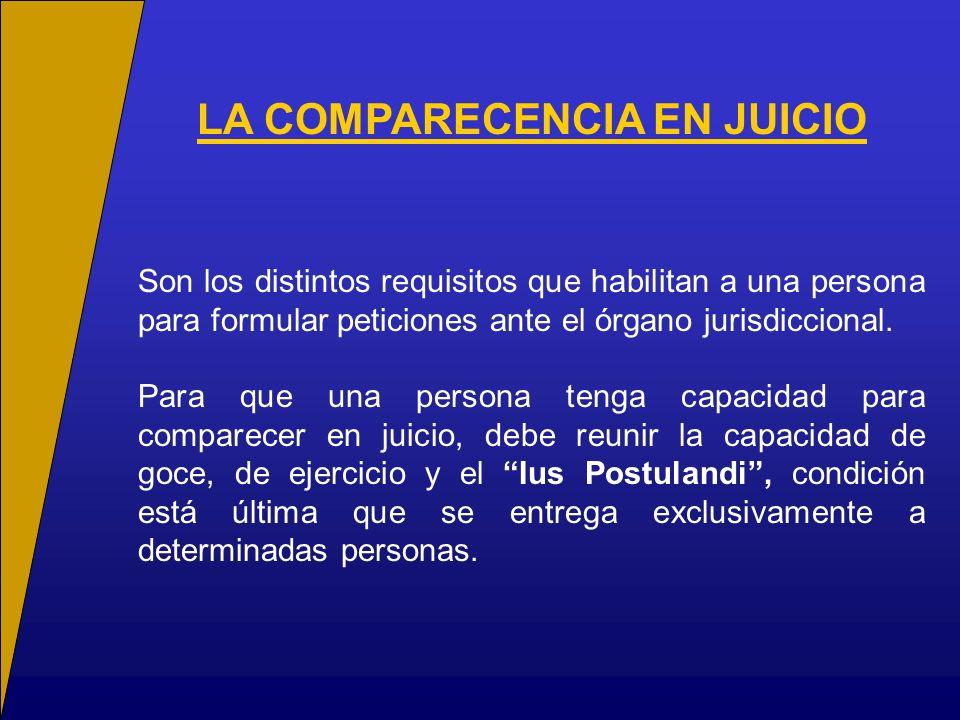 Son los distintos requisitos que habilitan a una persona para formular peticiones ante el órgano jurisdiccional. Para que una persona tenga capacidad