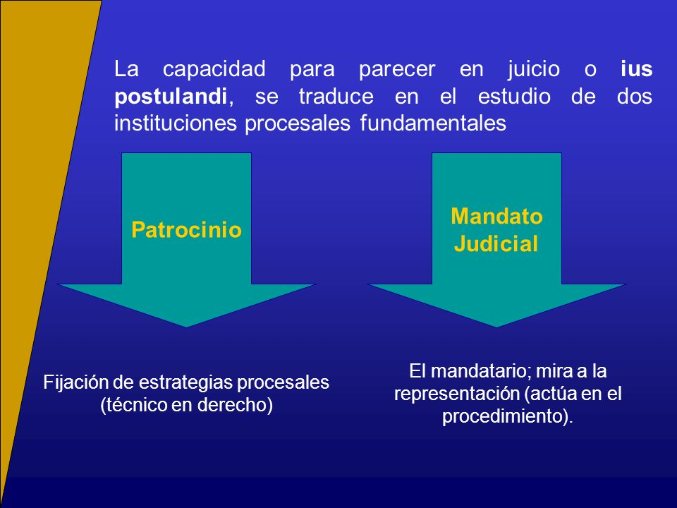 La capacidad para parecer en juicio o ius postulandi, se traduce en el estudio de dos instituciones procesales fundamentales Patrocinio El mandatario;