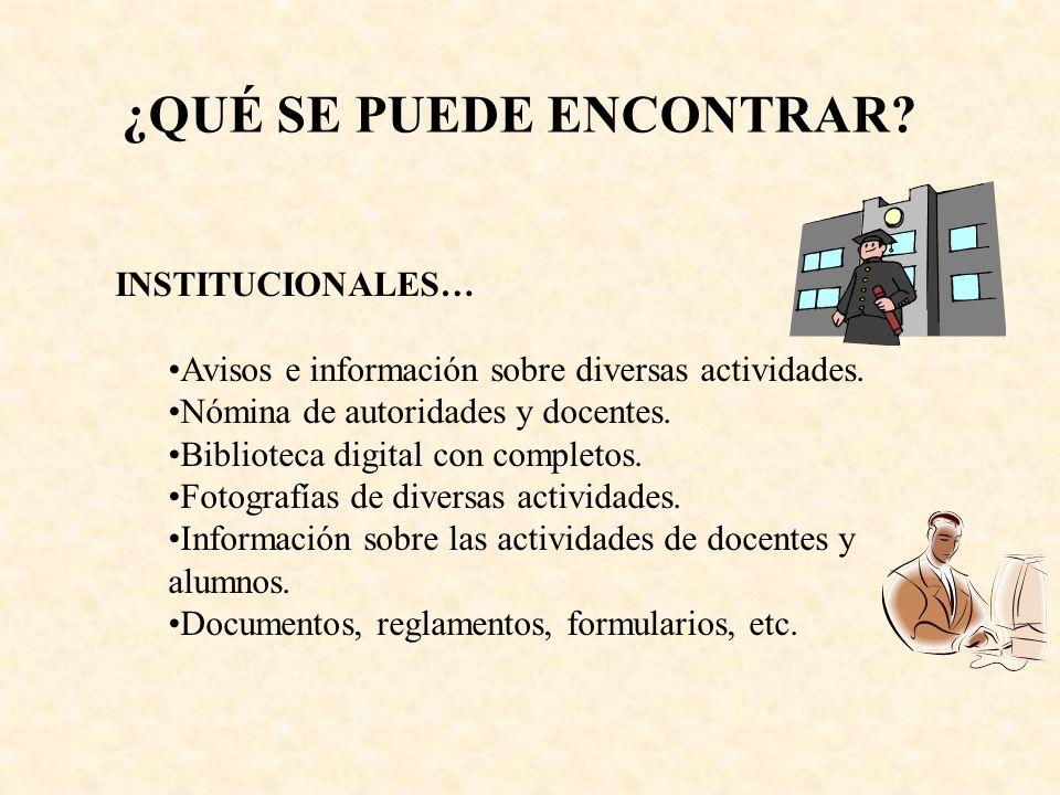INSTITUCIONALES… Avisos e información sobre diversas actividades.